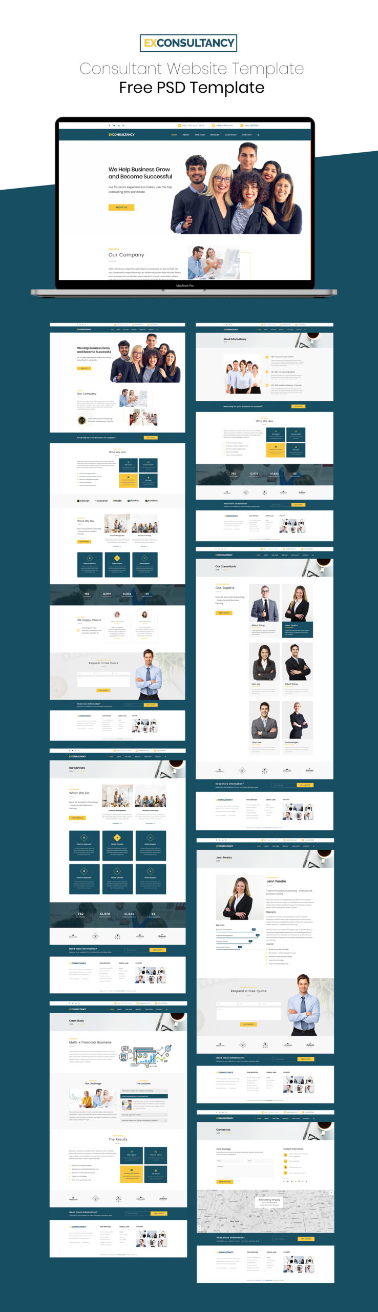 FREE Consultant Website PSD Template - Pages