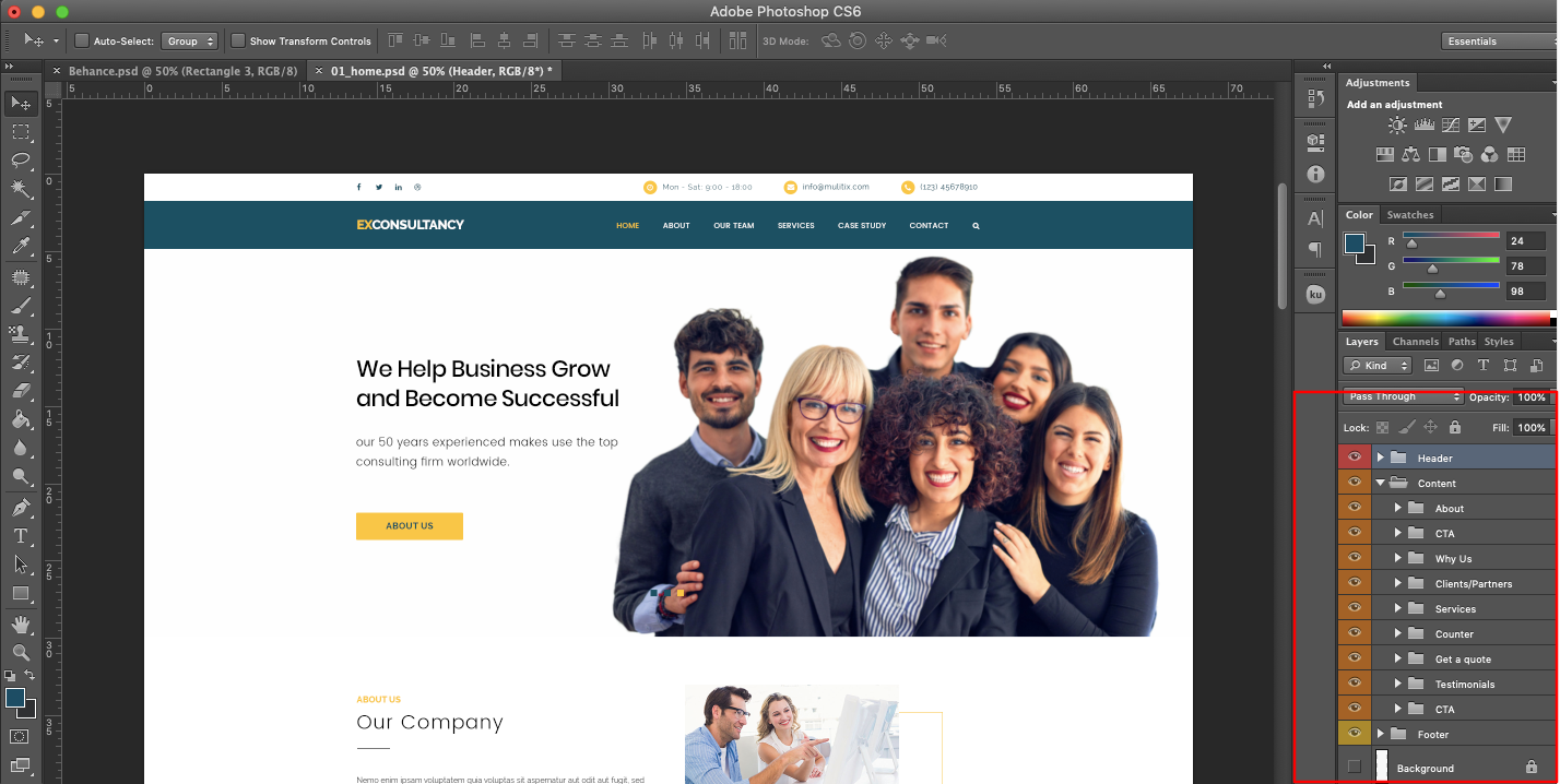 FREE Corporate Website PSD Template-Page Groups