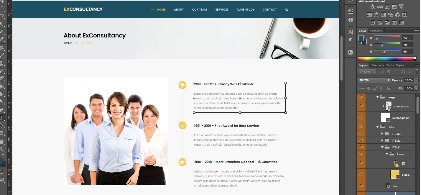 FREE Corporate Website PSD Template-Edit Elements