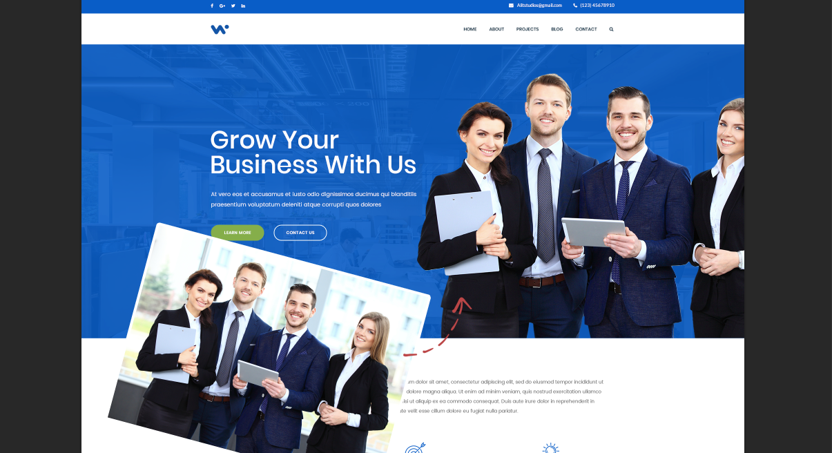 Corporate Website PSD Template - Use of Background Removal by Removal.AI
