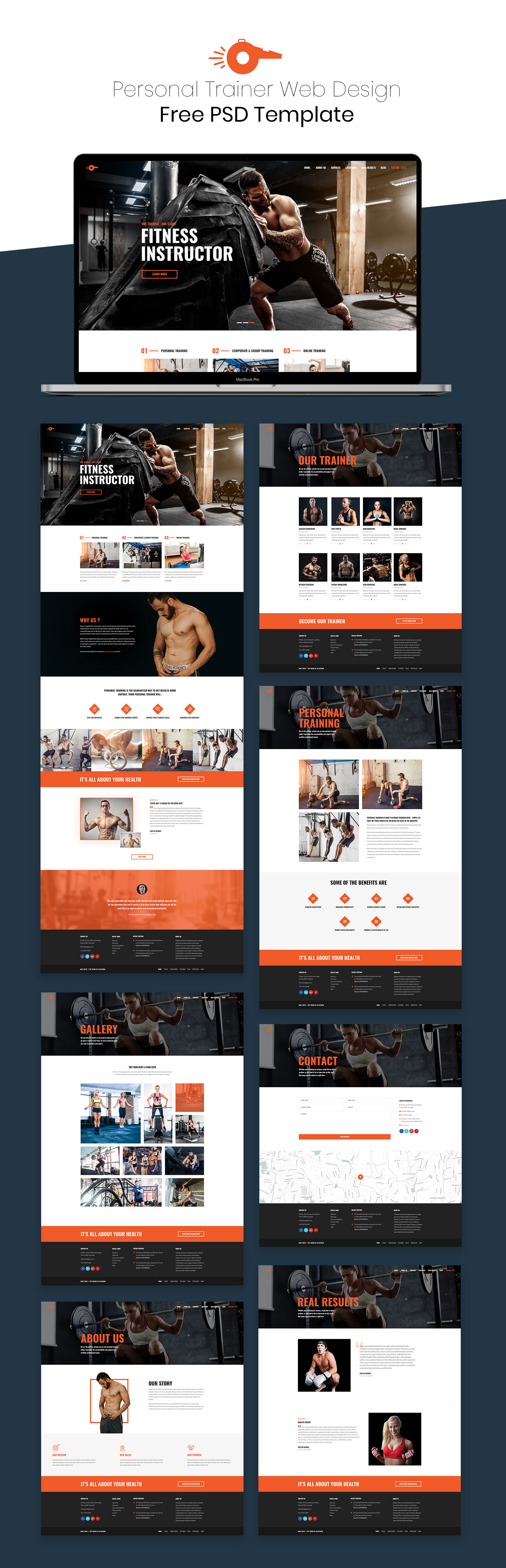 free PSD web template for Personal Trainer