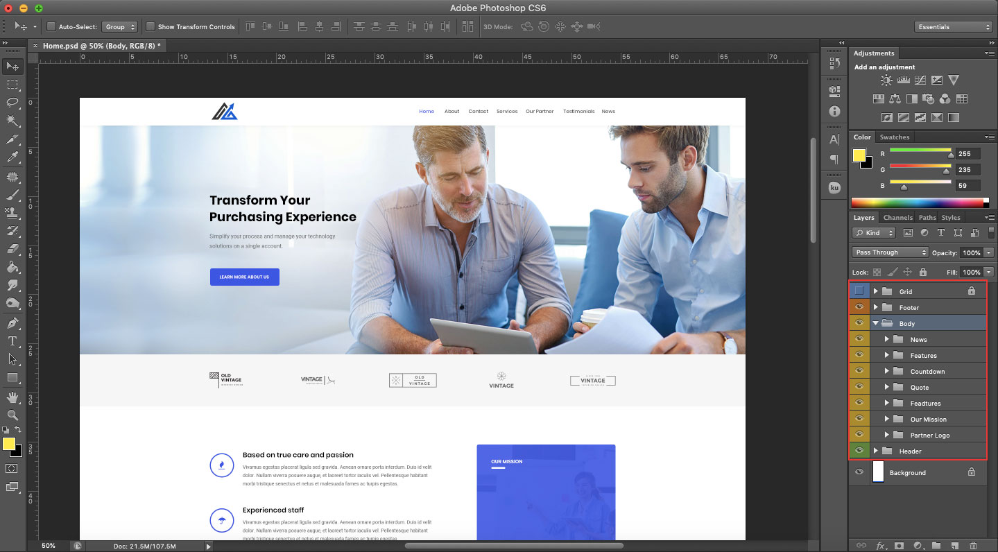Free PSD Web Template for Modern Company